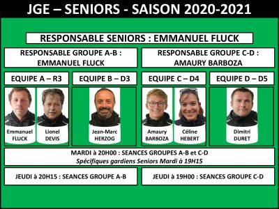 Présentation Seniors JGE – Saison 2020-2021