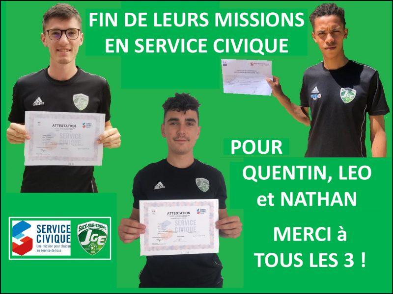 Quentin, Léo et Nathan ont clôturé leur Service Civique