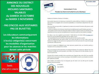 Le District annonce de nouvelles mesures sanitaires jusqu'au 3 novembre