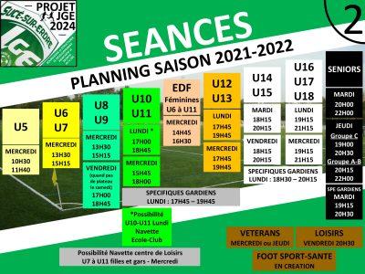 Le planning des séances 2021-2022 se précise