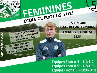 Amaury Barboza, Responsable de l'Ecole de Foot Féminine