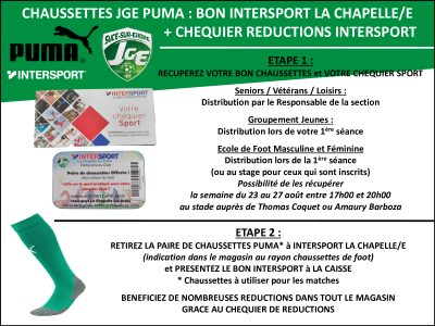 Bon Intersport chaussettes Puma